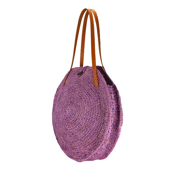round straw raffia tote bag with leather straps