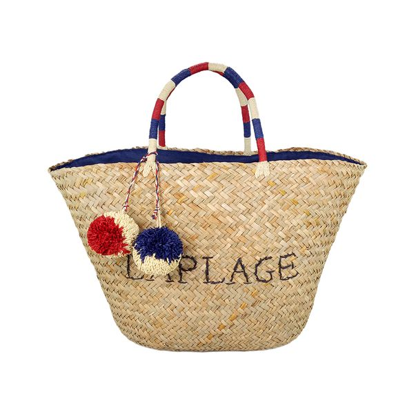 Tote seagrass bag with La Plage embroidery