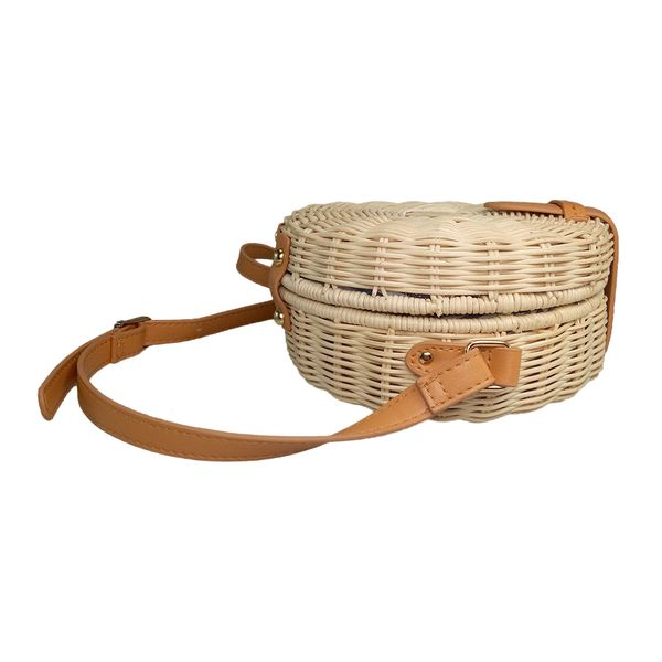 Round wicker rattan bag