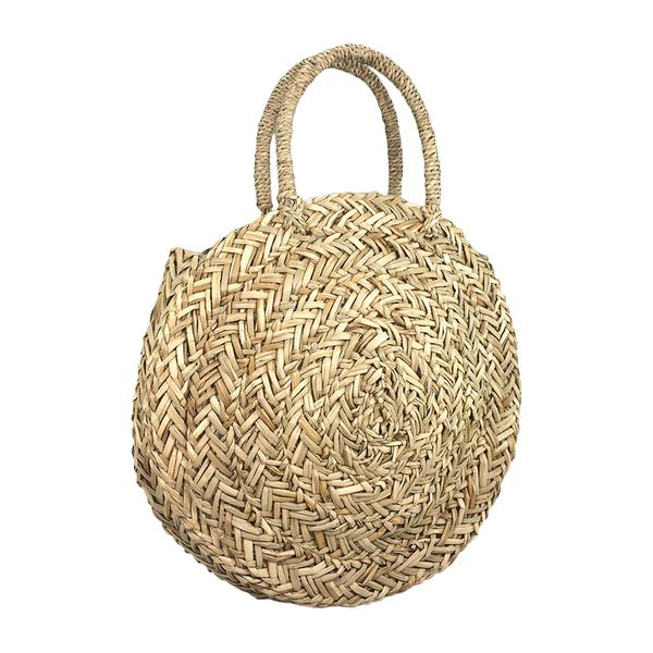Top selling Trendy hand woven round straw bag
