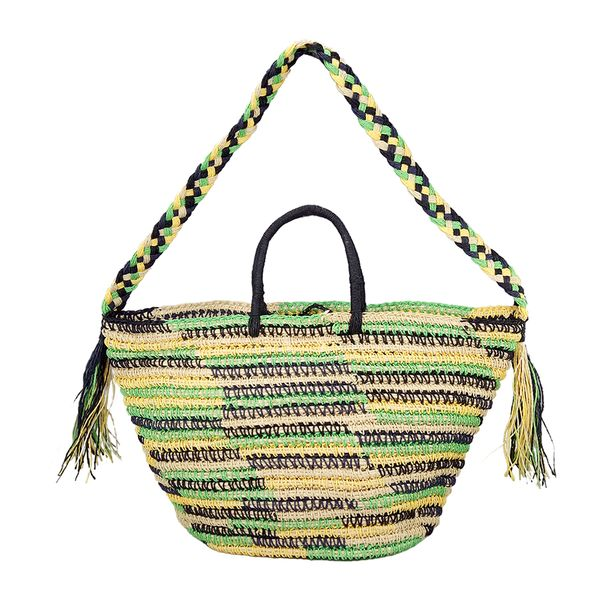 Multicolor paper straw shoulder bag