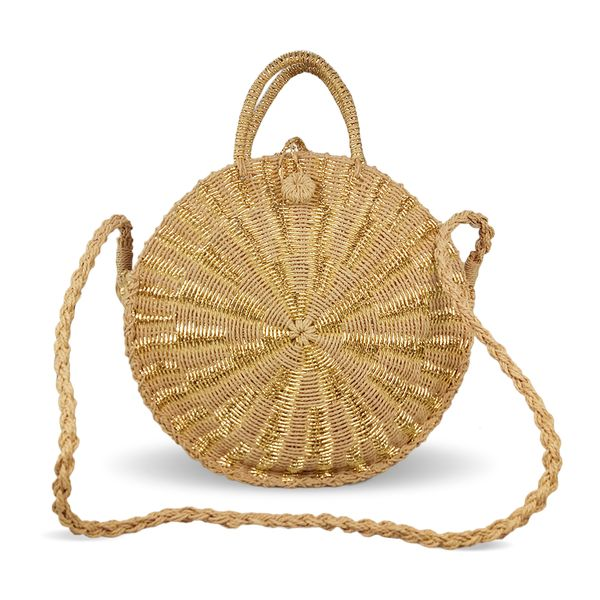 Round crochet straw bag