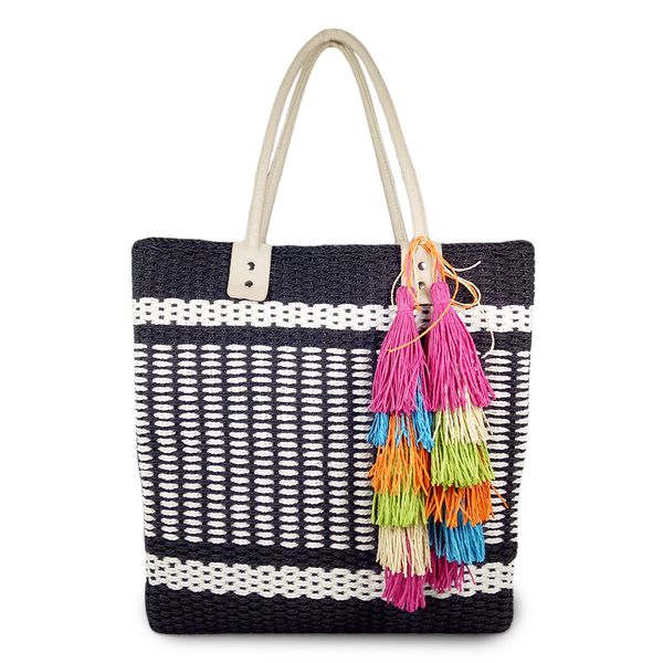 Mary large striped woven straw basket tote bag
