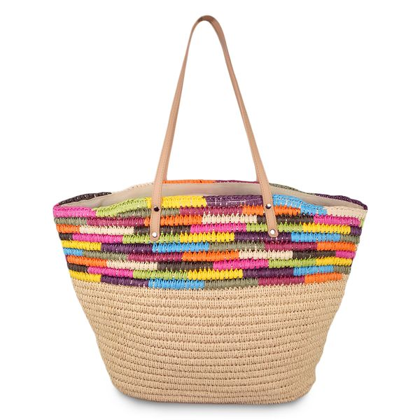 Multicolor crochet straw shoulder bag