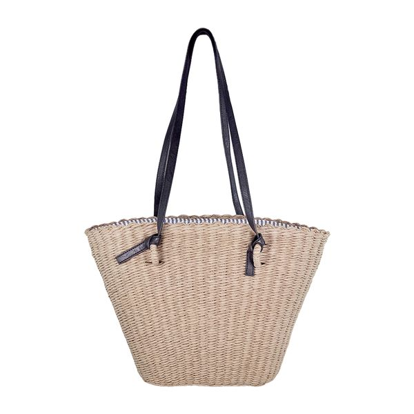 Gray straw bag with removable straps