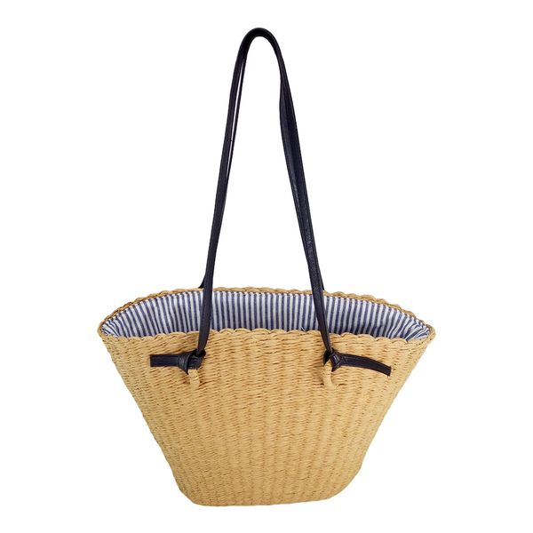 Beige paper straw beach bag