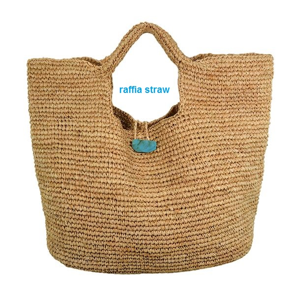 Paper straw tote bag with stone closure