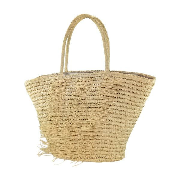 Fringes trimming straw crochet tote bag