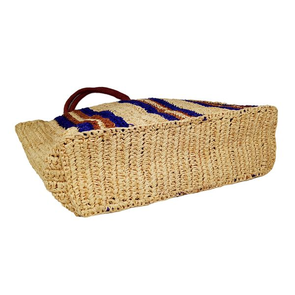 Straw striped raffia beach tote bag