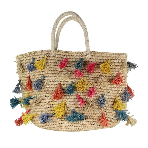 Raffia basket bag with colorful tassels