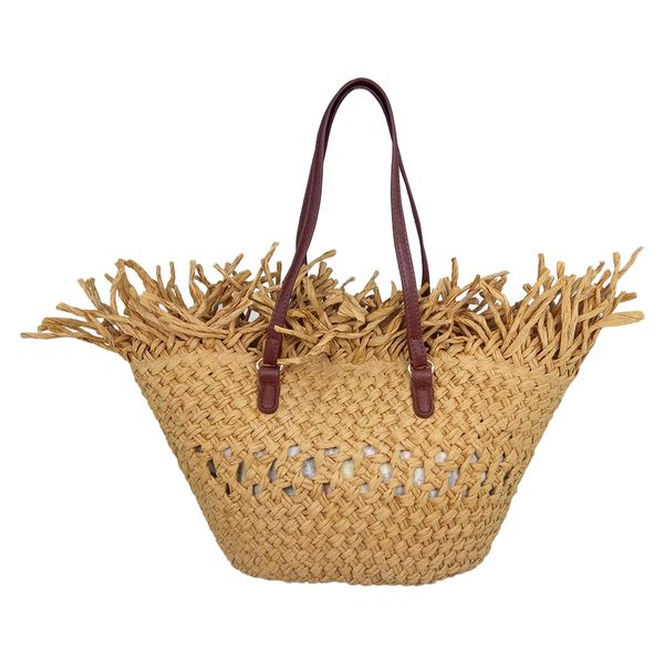 Hand crocheted straw bag with fringes