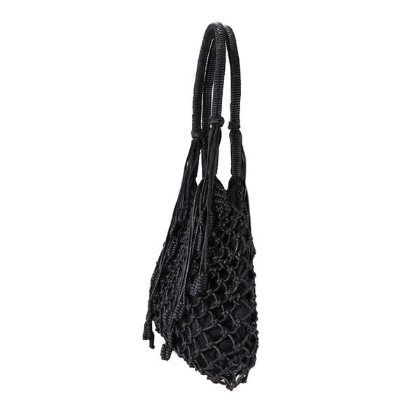 Cotton crochet bag in black
