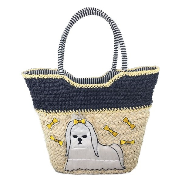 Handmade straw tote bag with embroidery