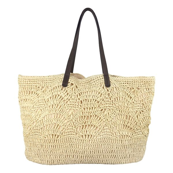 Natural crochet handbag tote