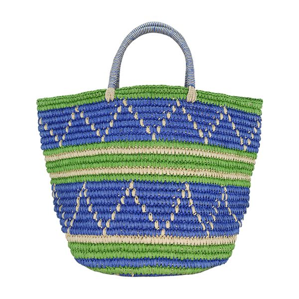 Striped woven straw basket handbag