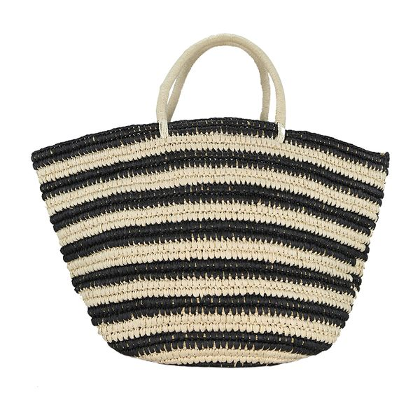 Stripe woven straw tote bag,unlined