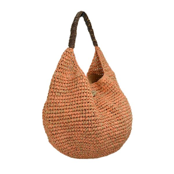 crochet straw shoulder bag with multicolors paper straw