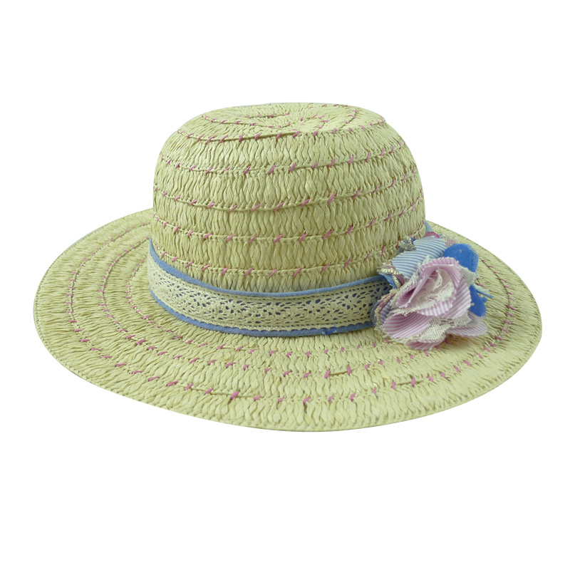 fashion straw hat with lace trim