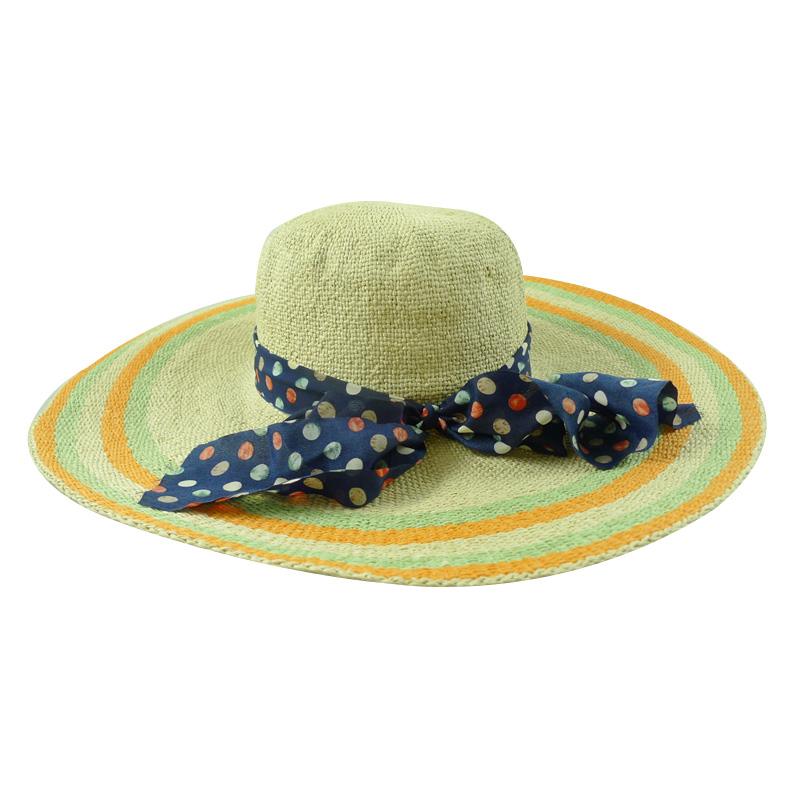 Wide Brim Machine Weave Paper Straw Beach Sun Hat