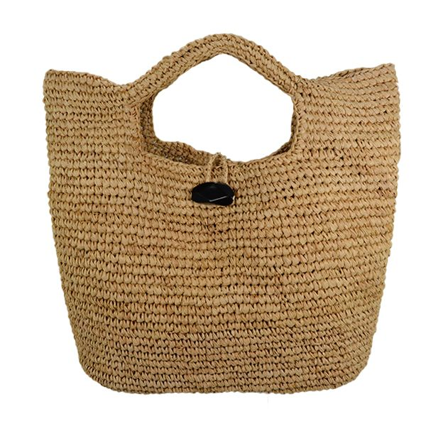 raffia straw bag with stone closure for the summer