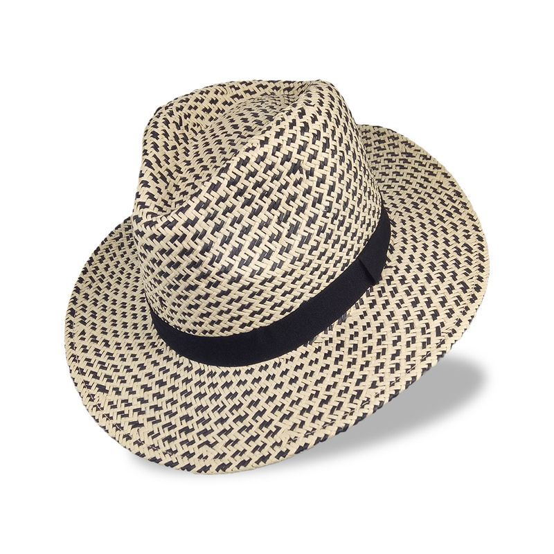 Straw two tone color panama summer hat for men