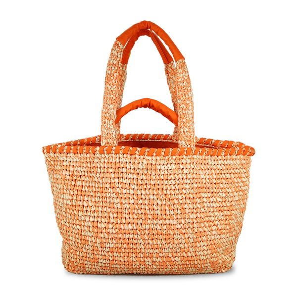 orange crochet straw shoulder bag