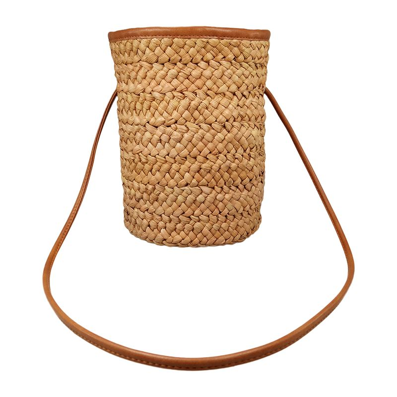Handwoven cornhusk straw bucket tote bag,shoulder bag
