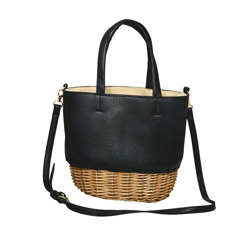 handcrafted rattan bag in rattan and leather