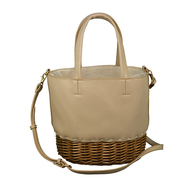 handcrafted wicker rattan bag in rattan and leather