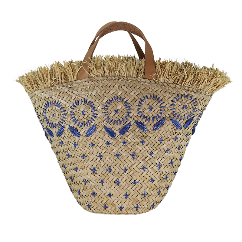 women handmade straw bag beach handbag with embroidery