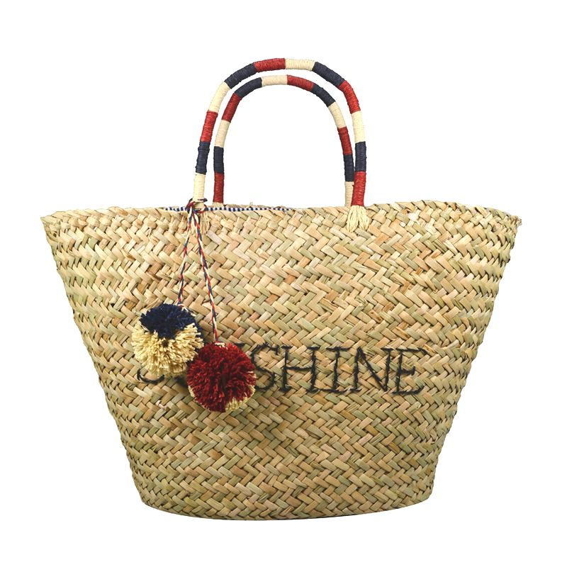 Tote seagrass bag with SUNSHINE embroidery