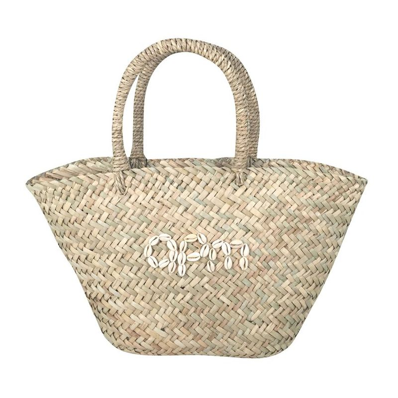 Tote sea grass bag with Shells embroidery