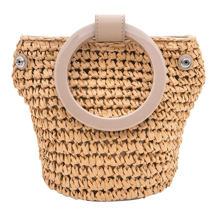cute round straw shoulder bag