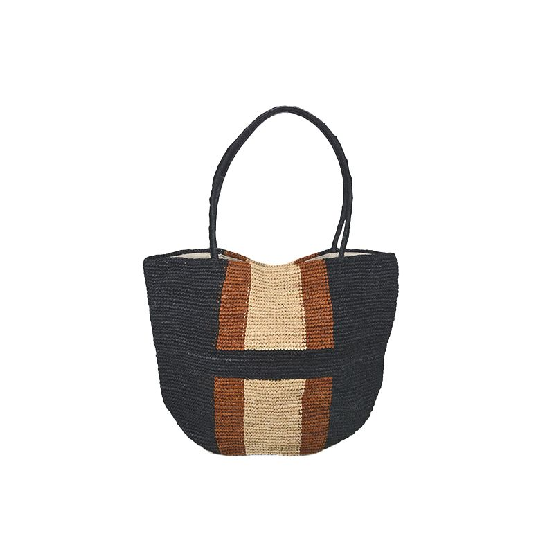 Madagascar raffia large straw shoulder bag