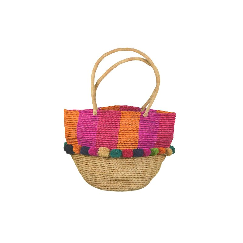 Raffia straw tote bag with pom poms