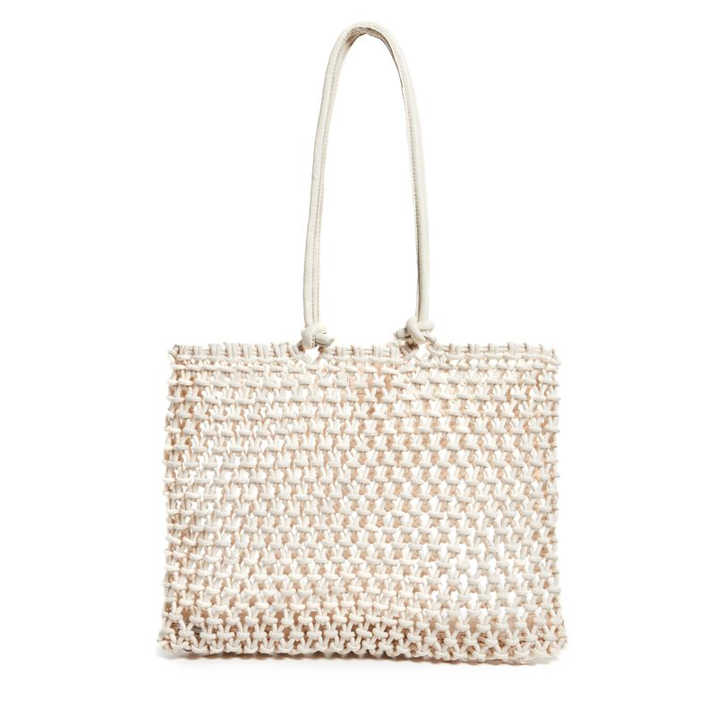 cream fabric crocheted shopper bag