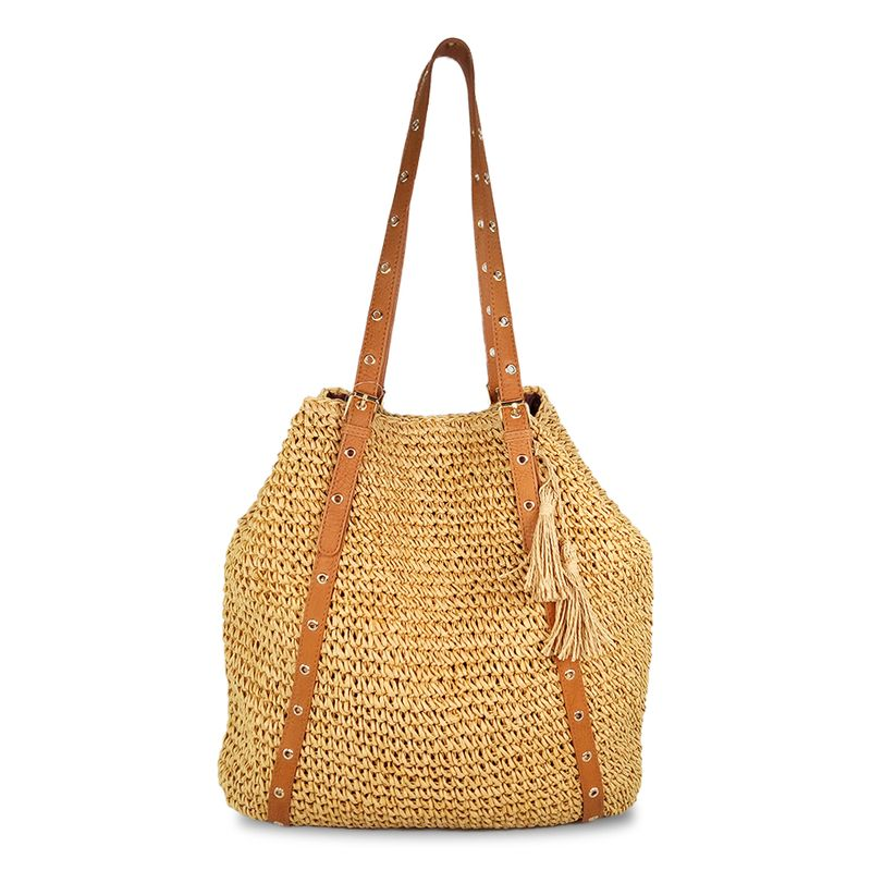 large crocheted straw shoulder bag