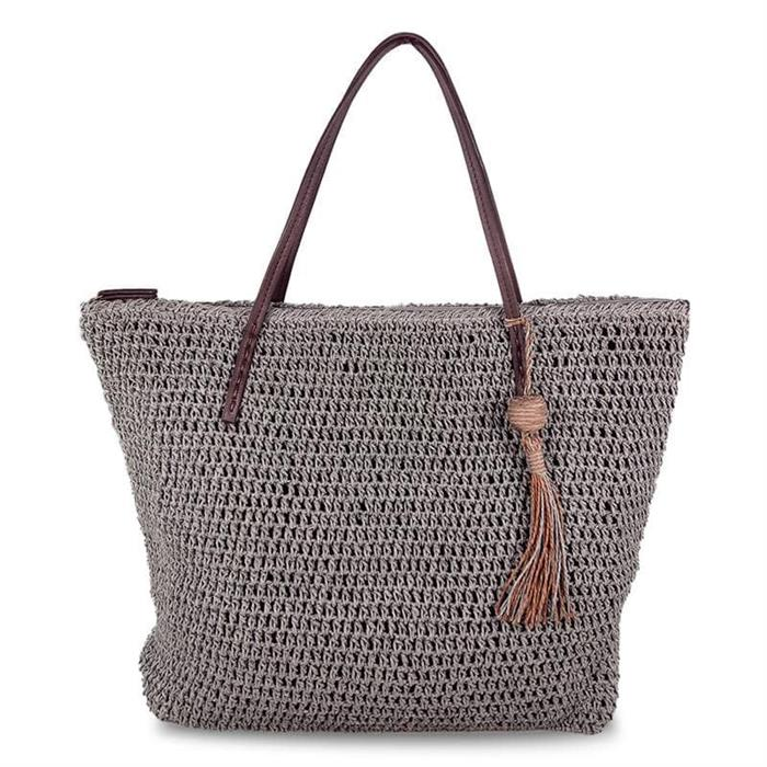 top zippered straw tote bag