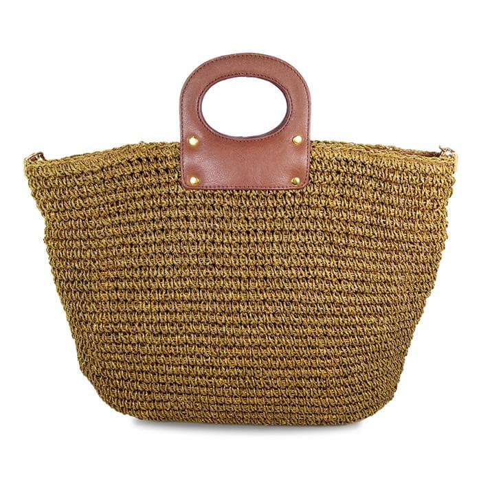 lined straw tote bag