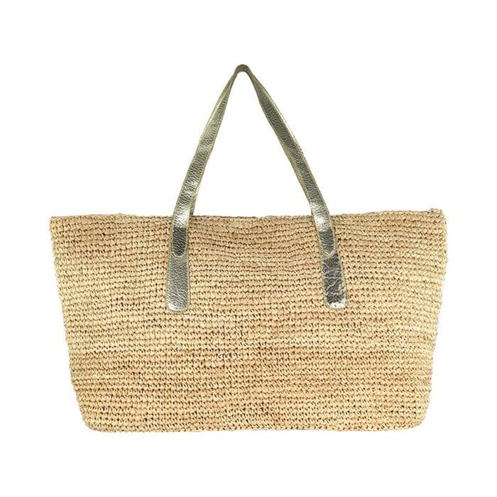 raffia shoulder tote with gold leather strap