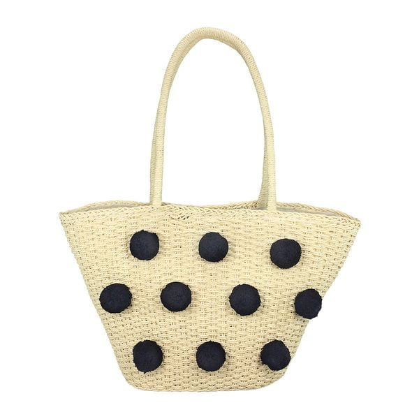Straw beach bag tote with black pom poms