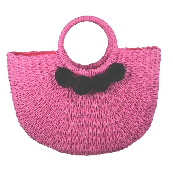 Handmade fushia straw bag with black pom poms