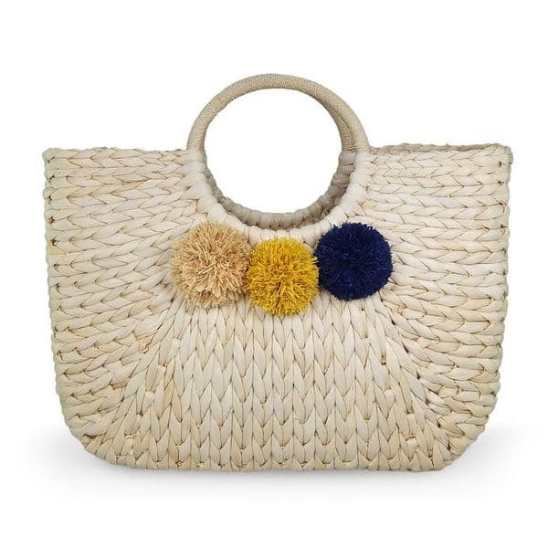Round handle straw tote with raffia pom poms