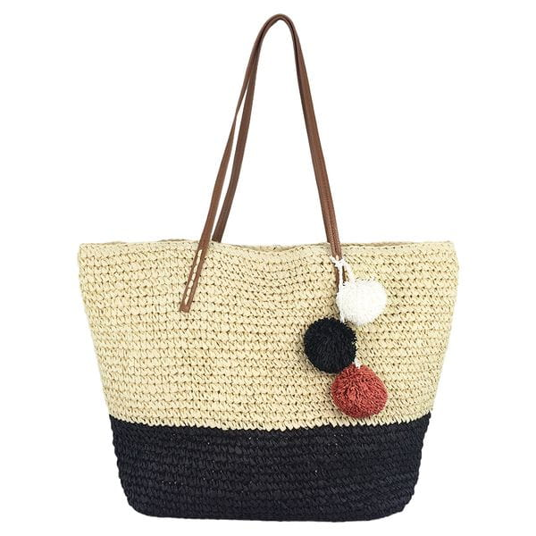 Paper straw crochet stripe tote with pom poms