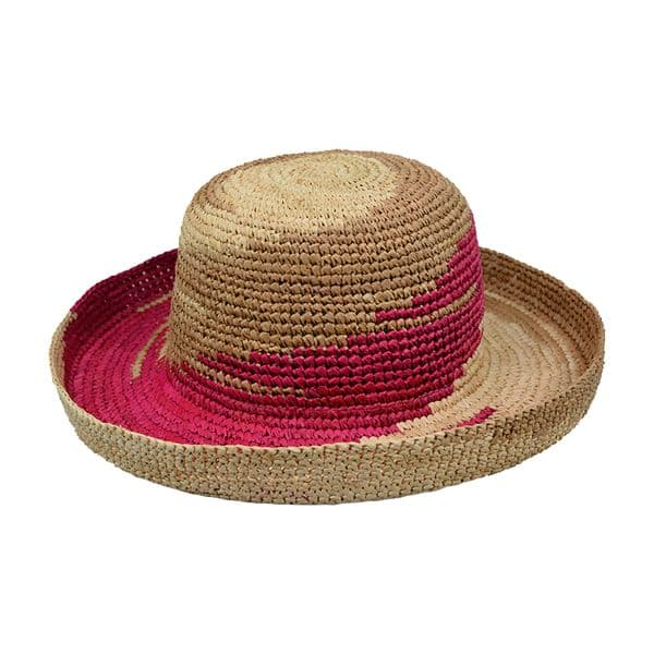 Crocheted Shapeable Straw Raffia Hat