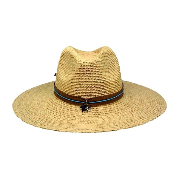 straw raffia braid summer hat with silver star