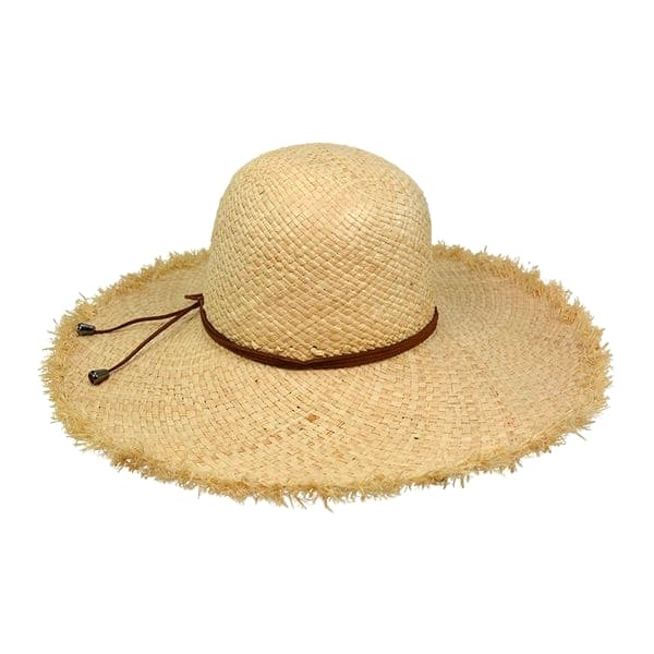 raffia straw hat with leather trimmings
