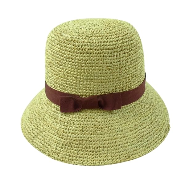 hand crocheted raffia sun protection hat