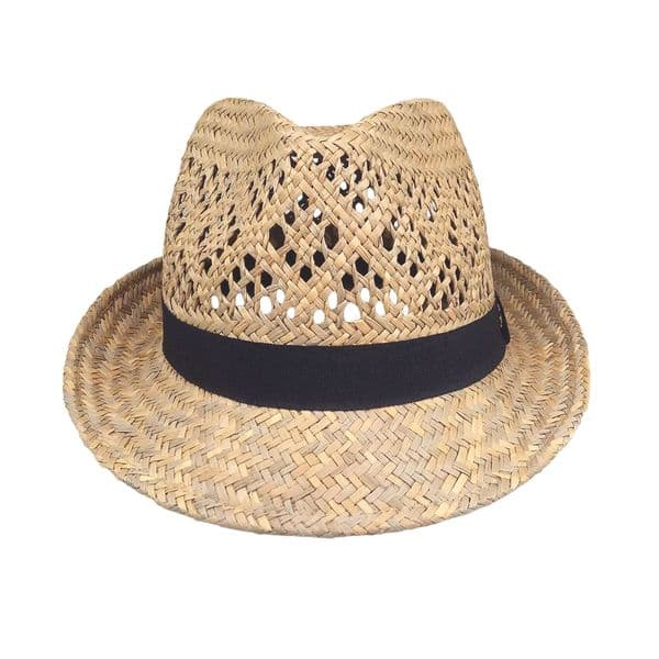 Straw Fedora Hat Men / Women's Summer Short Brim Beach Cap with Band