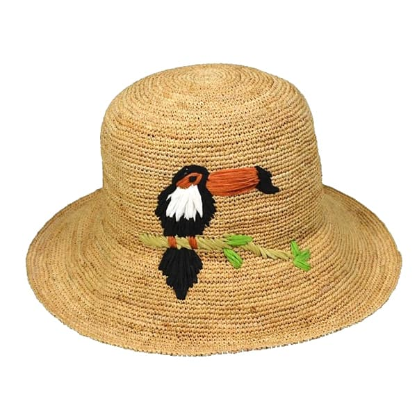 raffia hat with bird embroidery
